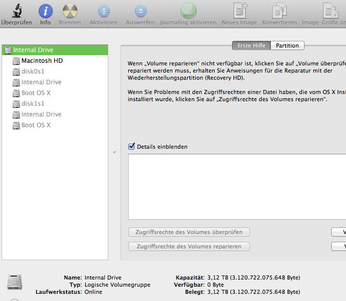 Diskaufteilung unter MacOS X