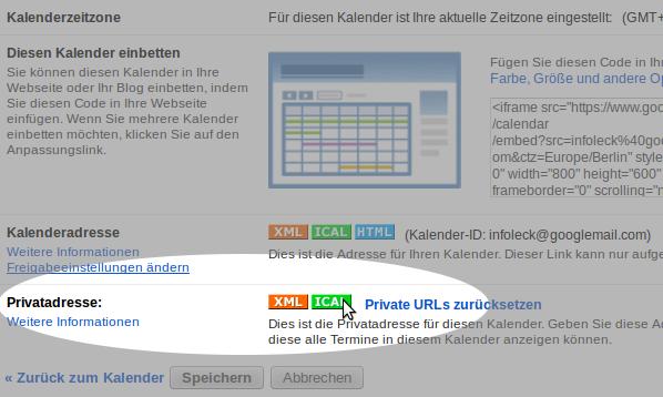 Hier mit einem Rechtsklick den eigenen Google-Kalender exportieren