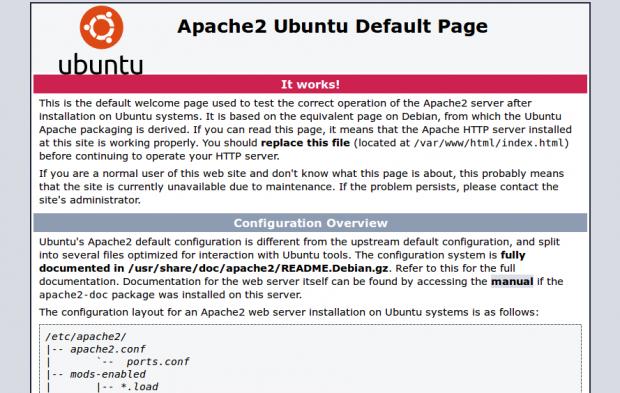 Noch kein WordPress? Die ubuntu default apache webserver page